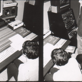 Mixing the album Glass at the old Hive location in East Vancouver, 2002. Photo by Chris Frey.